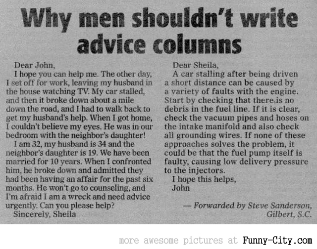 Why men shouldn't write advice column [327]