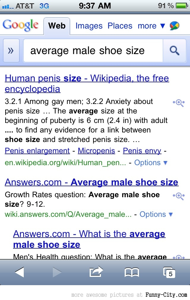 Average male shoe size....! [1009]
