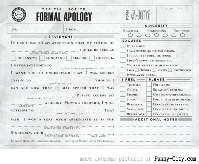 Formal Apology [1273]