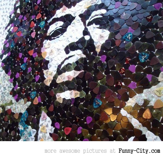 Hendrix portrait with 5000 picks
