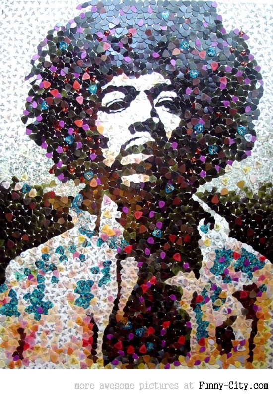 Hendrix portrait with 5000 picks [1282]