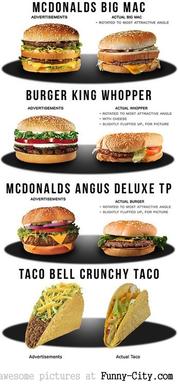 Advertisements VS Actual Food Size
