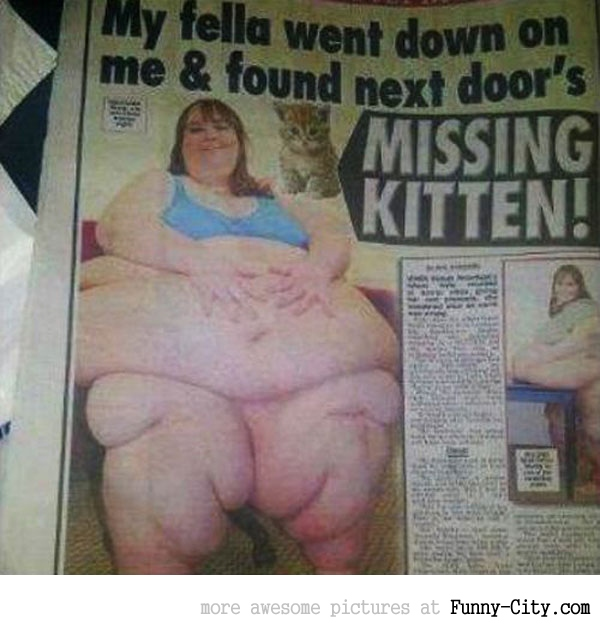 Missing kitten found in fat woman [1956]