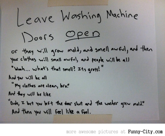 Leave washing machine open