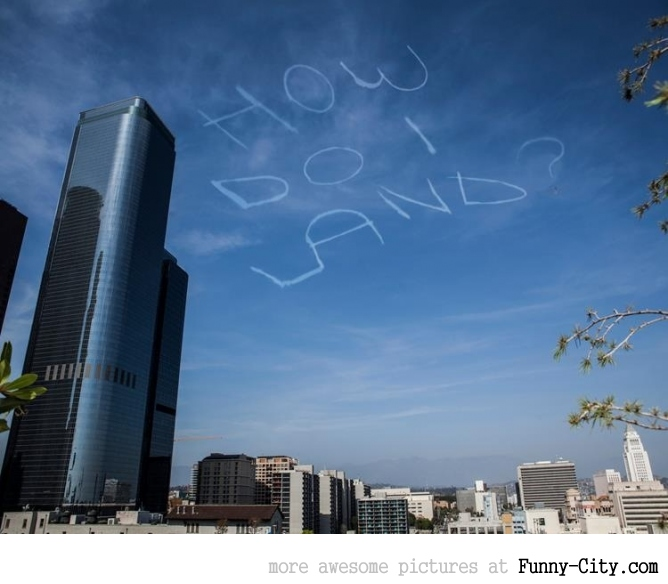 Comedian Kurt Braunohler hired a sky writer to do this over LA [5283]