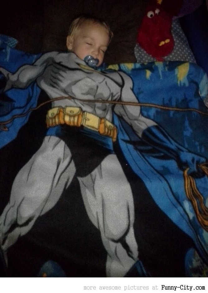 I put my son's Batman blanket on top of him... [5904]