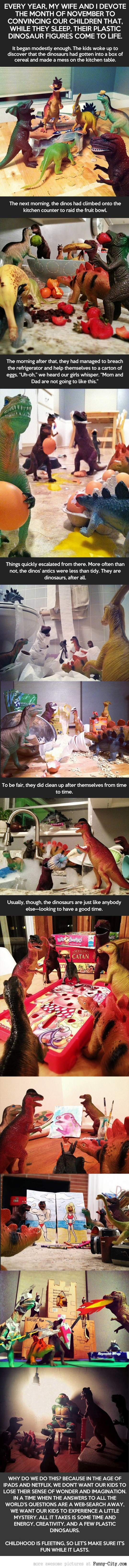 While their kids are sleeping, these parents create for them a wonderful dinosaur mystery
