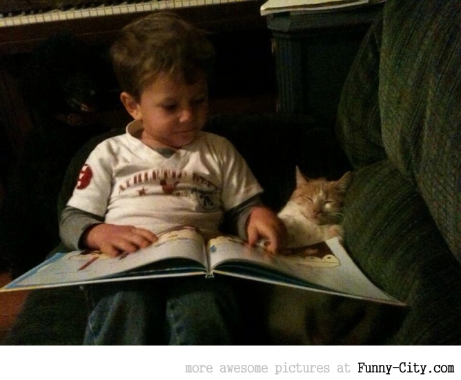 He likes to practice his reading on anyone who will listen
