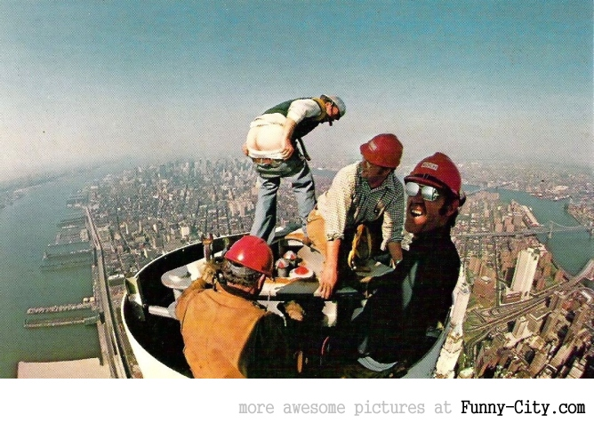 Engineers working on the original WTC antenna