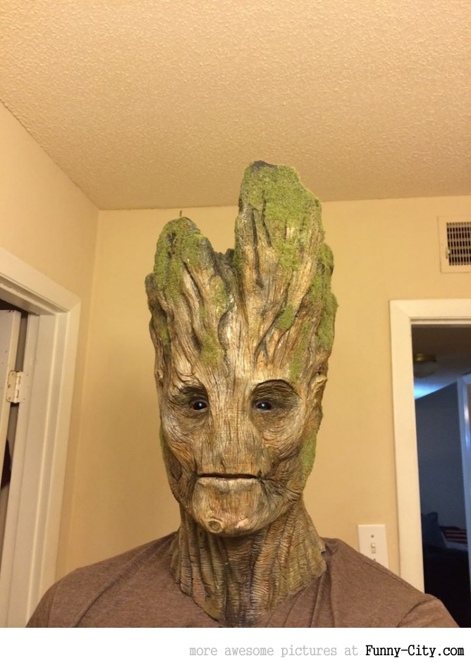 Groot done with makeup and practical FX
