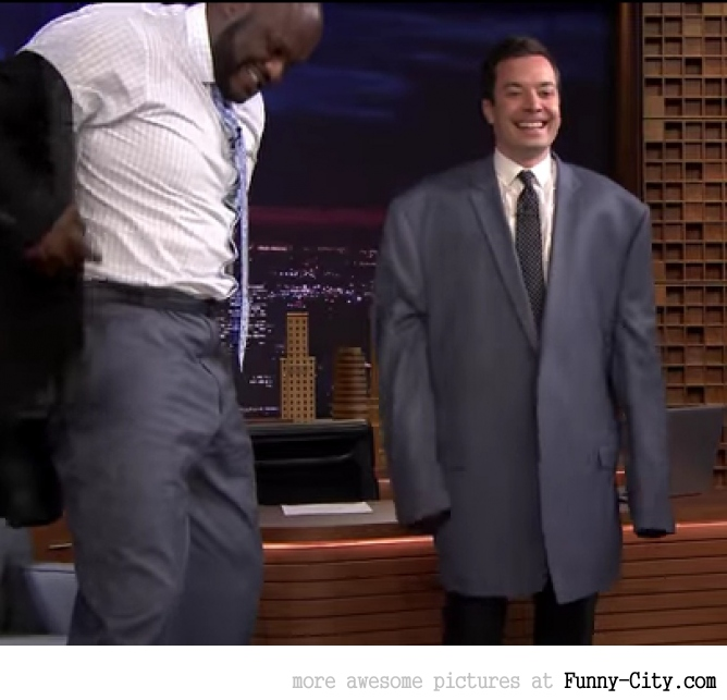 Jimmy Fallon wearing Shaq's suit