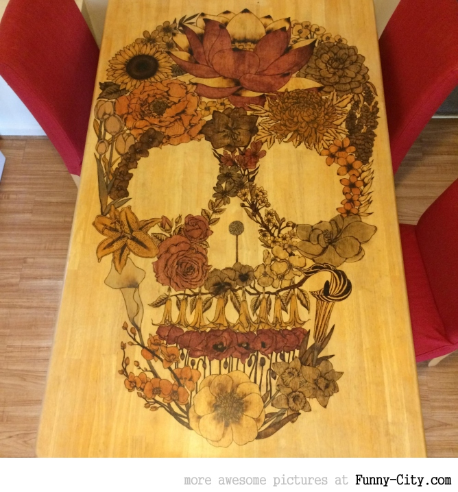 Awesome Woodburning On Kitchen Table