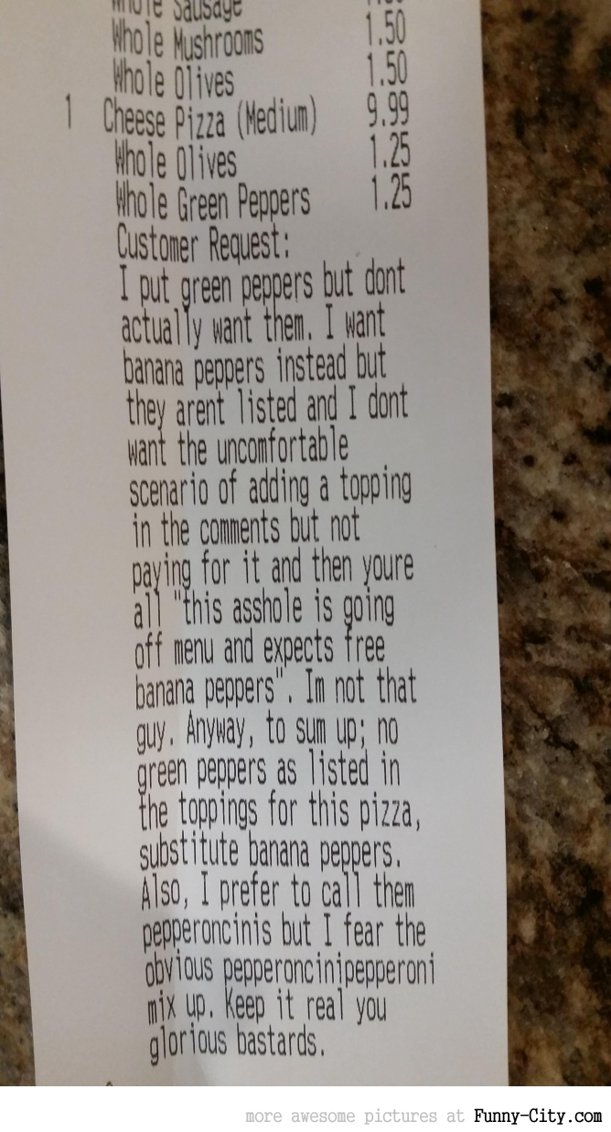 Pizza ordering without being an asshole