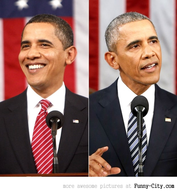 Obama's hair rapidly turned gray!