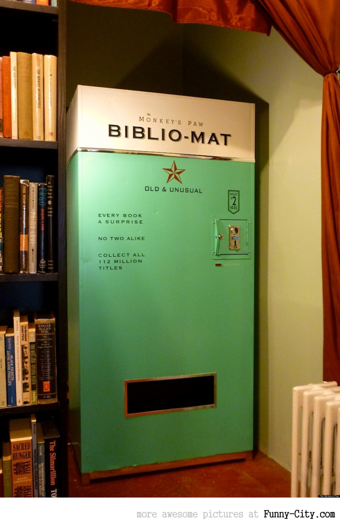 This vending machine dispenses a random book for $2.00