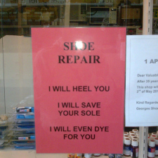 Witty shoe repairman