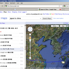 Japan to China using Google Maps