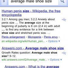 Average male shoe size....!