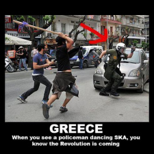 Policeman dances SKA in Greece