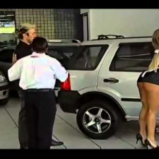 Brazilian car shop pranks husband buyers with a milf maid