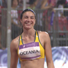 Michelle Jenneke is happy in the rain
