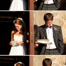 Young couple reading their wedding vows, separately
