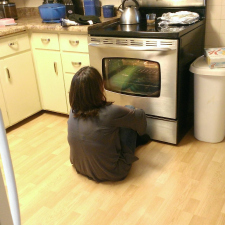 Mom got her first windowed oven.