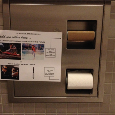 Double-rolled bathroom stall as a polling device