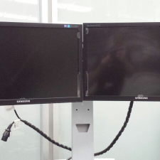 This guy at work loves to hold up these monitors all day