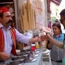 Awesome ice cream vendor in Turkey
