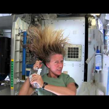 This is how you wash your hair. In Space!