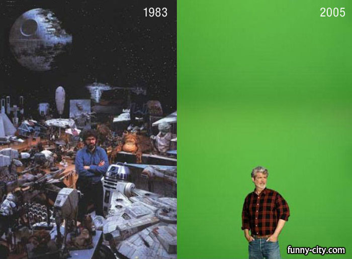 <p>George Lukas before and after computers invaded cinema.</p>