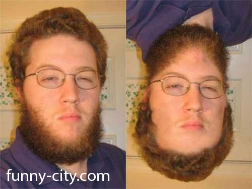 <p>Or hair for beard? Either way, he looks weird!</p>