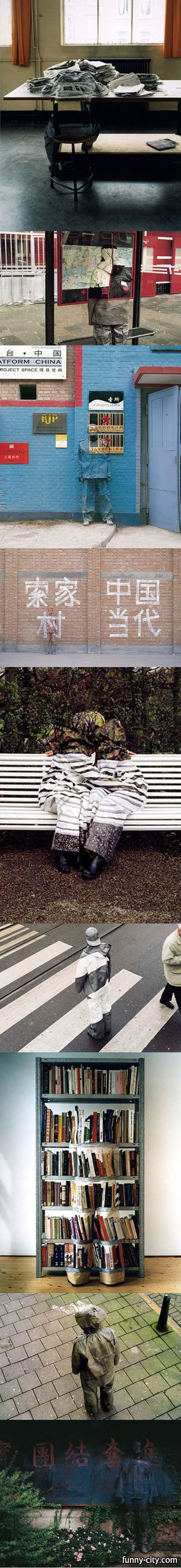<p>Creative works by Desiree Palmen. This is how you can be invisible in the middle of the street. Amazing!!</p>