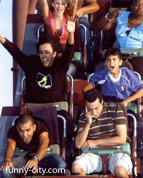 <p>Most people have fun on the rollercoaster.</p>